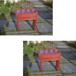 Lot de 2 serres en bois TERRES DE VILLE - couleur rouge