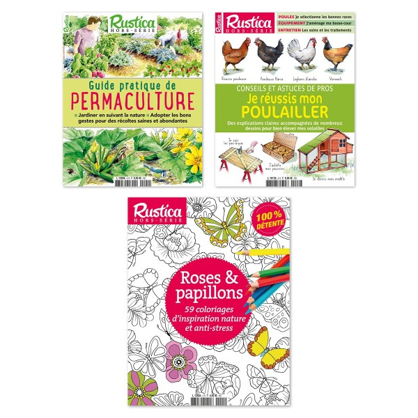 """Pack """"Nature"""" : Coloriages Roses et Papillons + Permaculture + Poulailler"""