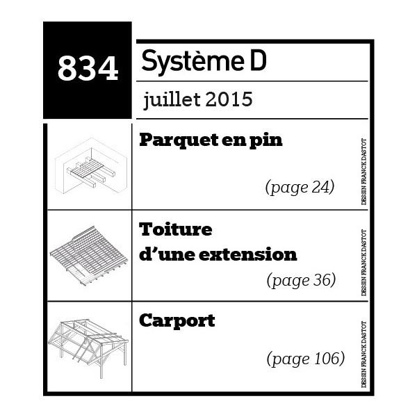 Parquet en pin - Toiture d'une extension - Carport - Plan téléchargeable au format PDF