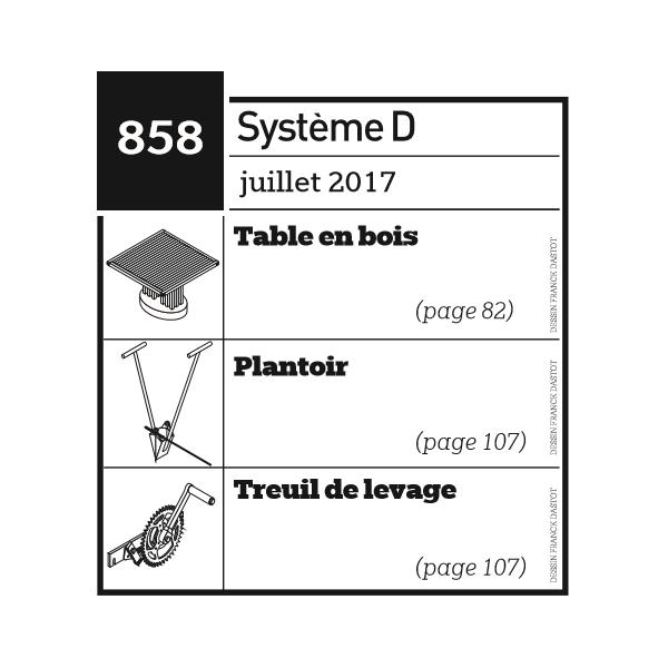 Table en bois + Plantoir + Treuil de levage - Plan envoyé par courrier au format papier