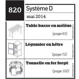 Table basse en mélèze - Légumier en hêtre - Tonnelle en fer forgé - Plan téléchargeable au format PDF