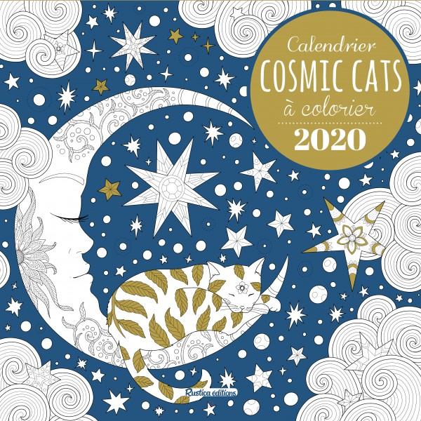 Calendrier Cosmic Cats à colorier 2020